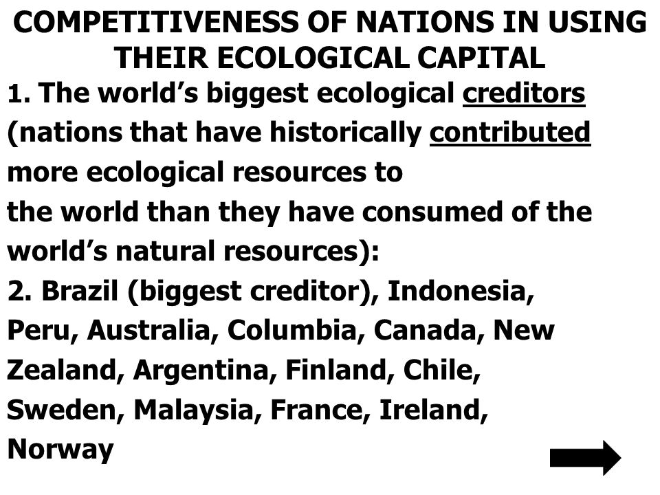 COMPETITIVENESS OF NATIONS IN USING THEIR ECOLOGICAL CAPITAL