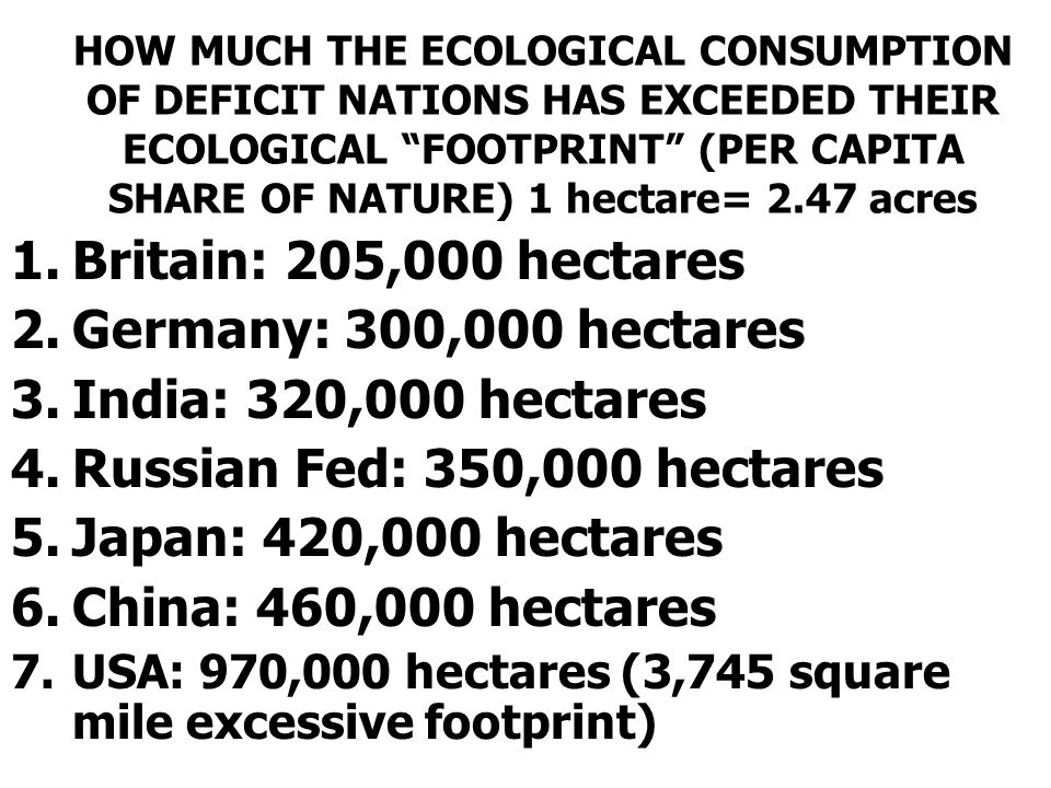 Britain: 205,000 hectares Germany: 300,000 hectares