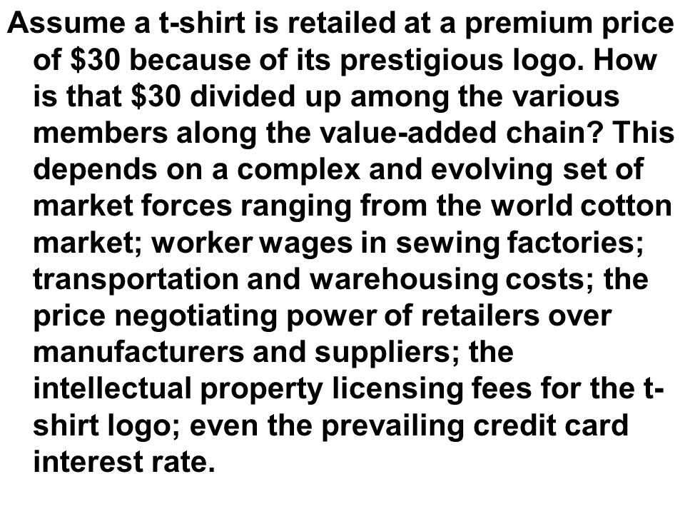 Assume a t-shirt is retailed at a premium price of $30 because of its prestigious logo.