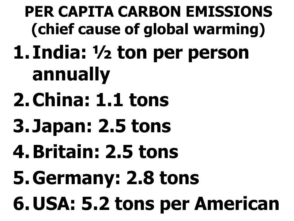PER CAPITA CARBON EMISSIONS (chief cause of global warming)