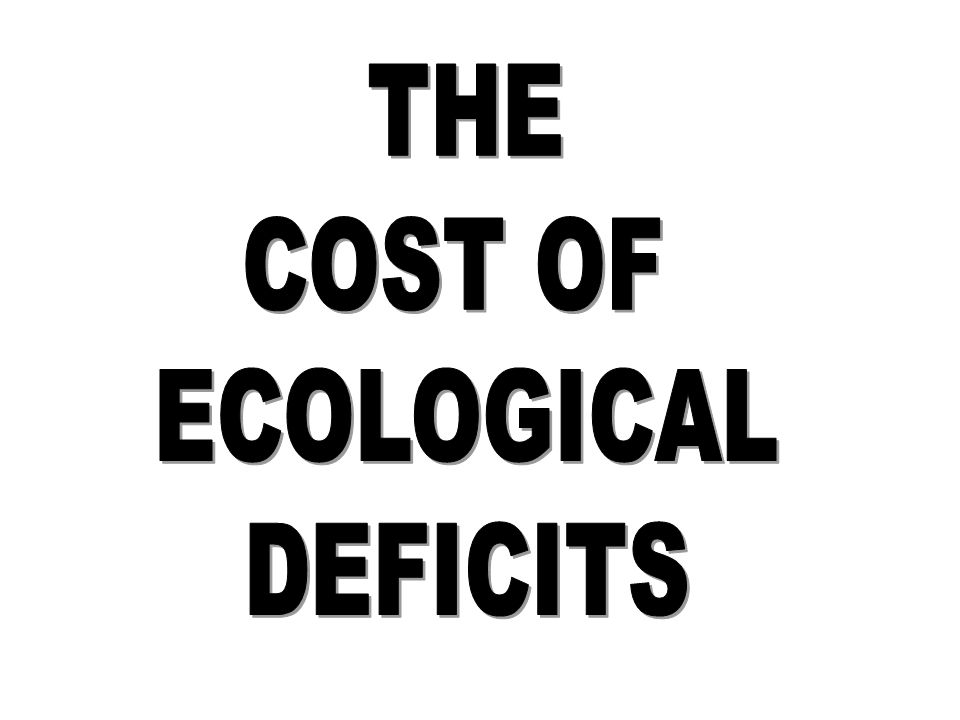 THE COST OF ECOLOGICAL DEFICITS