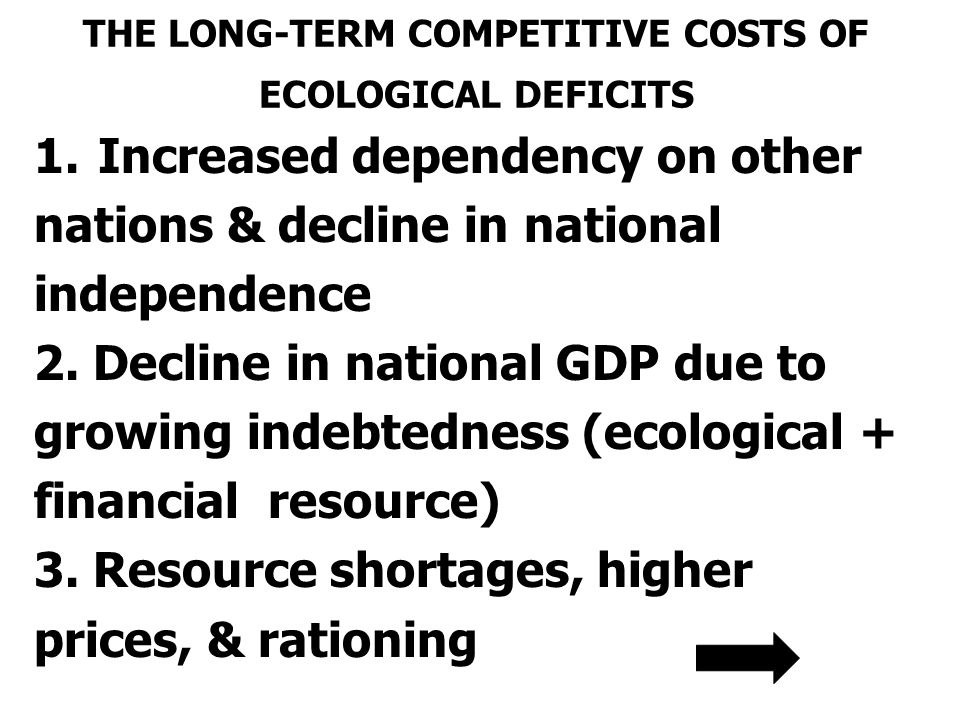 THE LONG-TERM COMPETITIVE COSTS OF ECOLOGICAL DEFICITS