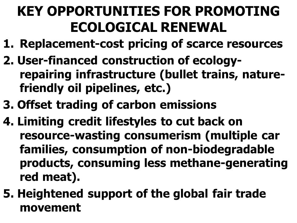 KEY OPPORTUNITIES FOR PROMOTING ECOLOGICAL RENEWAL