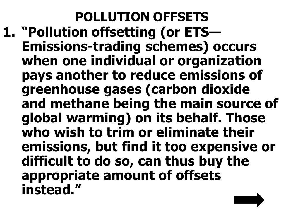 POLLUTION OFFSETS