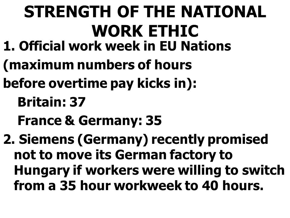 STRENGTH OF THE NATIONAL WORK ETHIC