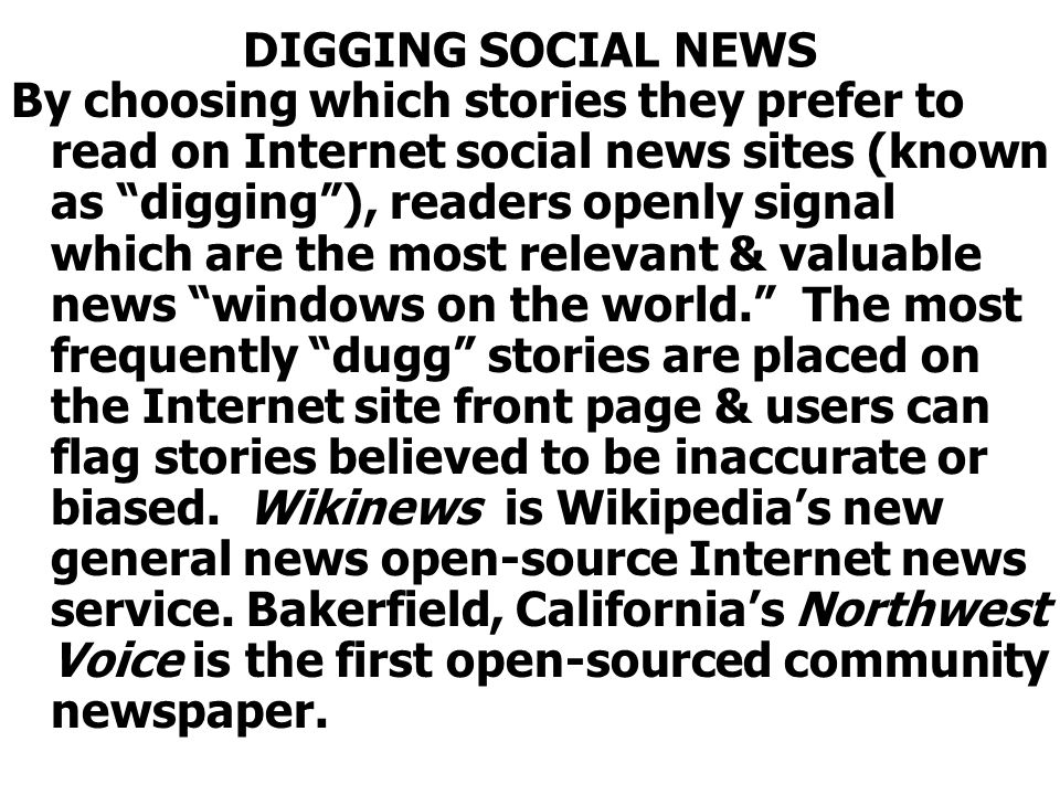 DIGGING SOCIAL NEWS