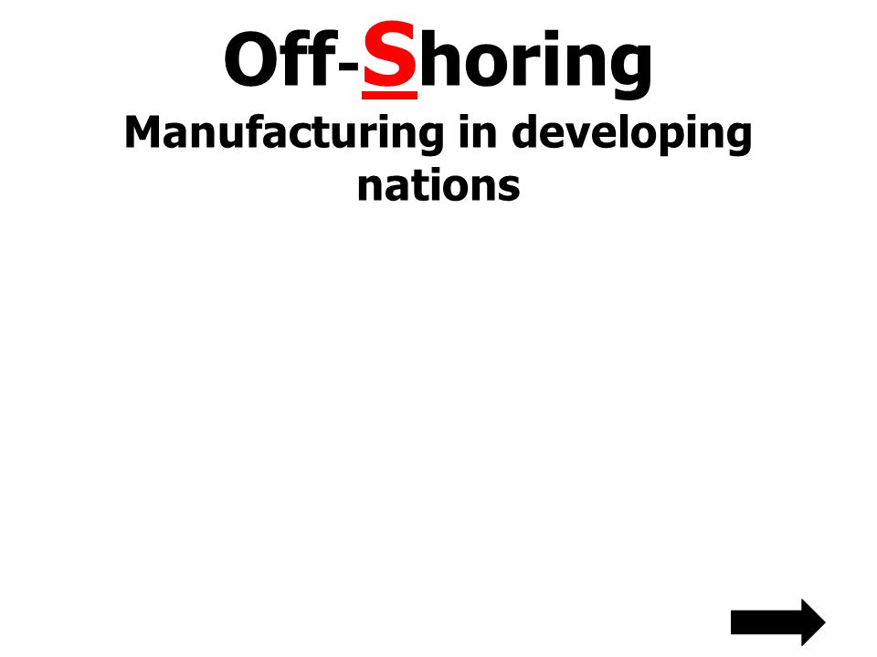Off-Shoring Manufacturing in developing nations