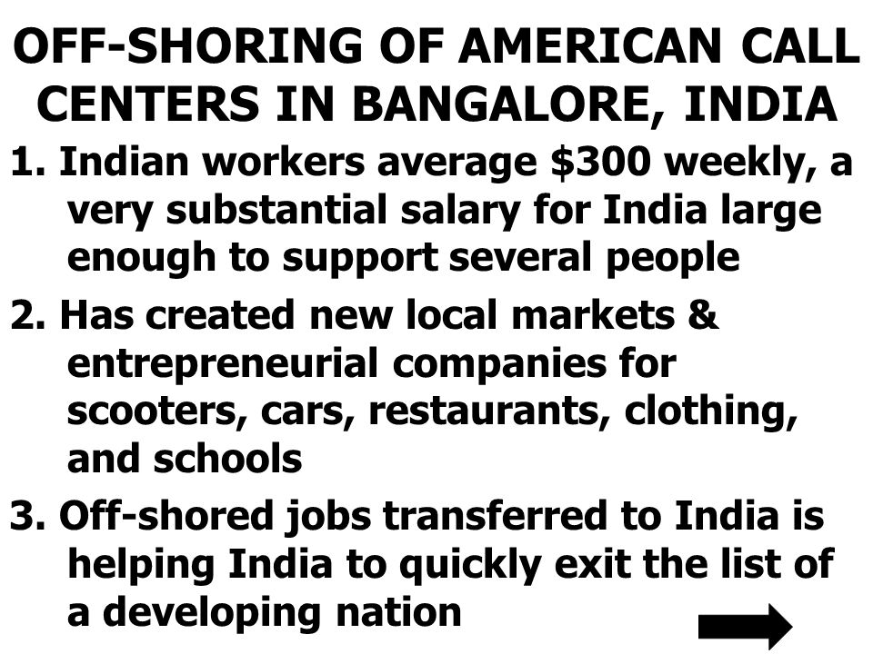 OFF-SHORING OF AMERICAN CALL CENTERS IN BANGALORE, INDIA