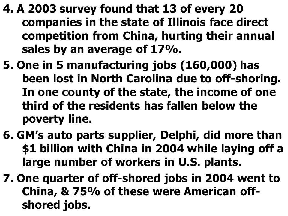 4. A 2003 survey found that 13 of every 20 companies in the state of Illinois face direct competition from China, hurting their annual sales by an average of 17%.