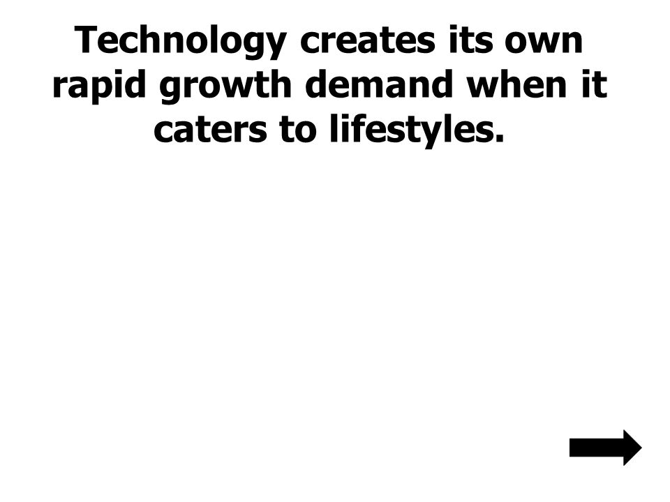 Technology creates its own rapid growth demand when it caters to lifestyles.