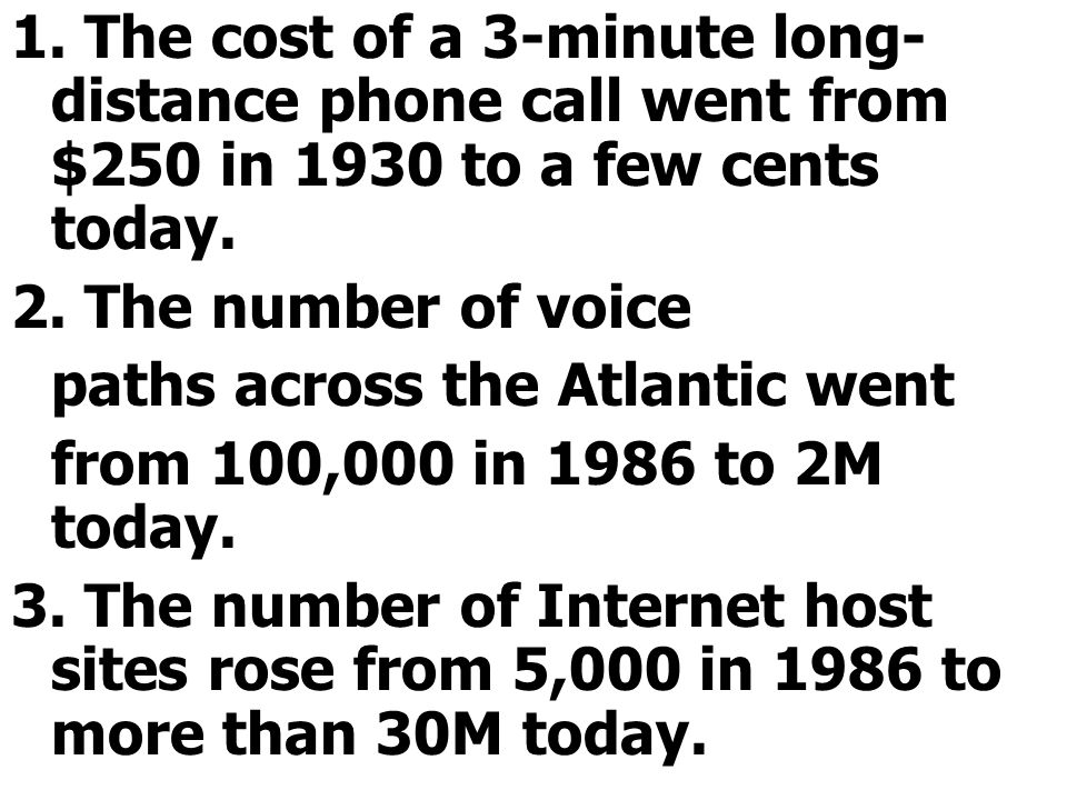 1. The cost of a 3-minute long- distance phone call went from $250 in 1930 to a few cents today.