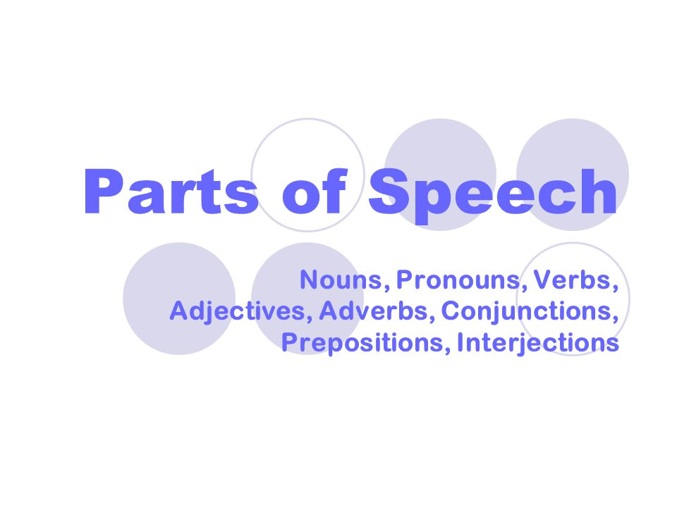 Parts of Speech Nouns, Pronouns, Verbs, Adjectives, Adverbs, Conjunctions, Prepositions, Interjections.