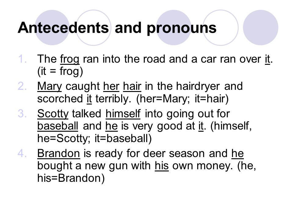 Antecedents and pronouns