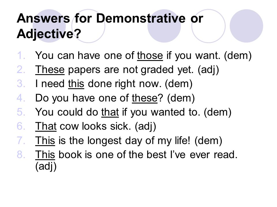 Answers for Demonstrative or Adjective