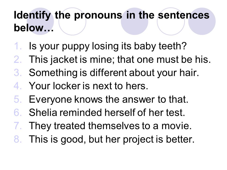 Identify the pronouns in the sentences below…