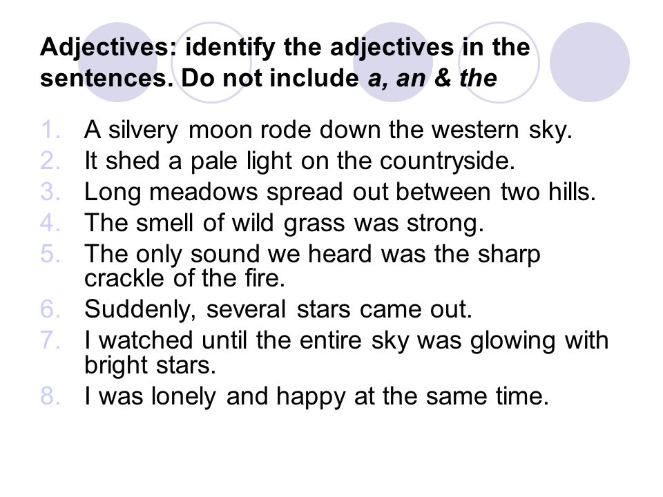Adjectives: identify the adjectives in the sentences