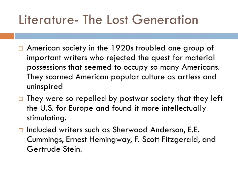 Literature- The Lost Generation