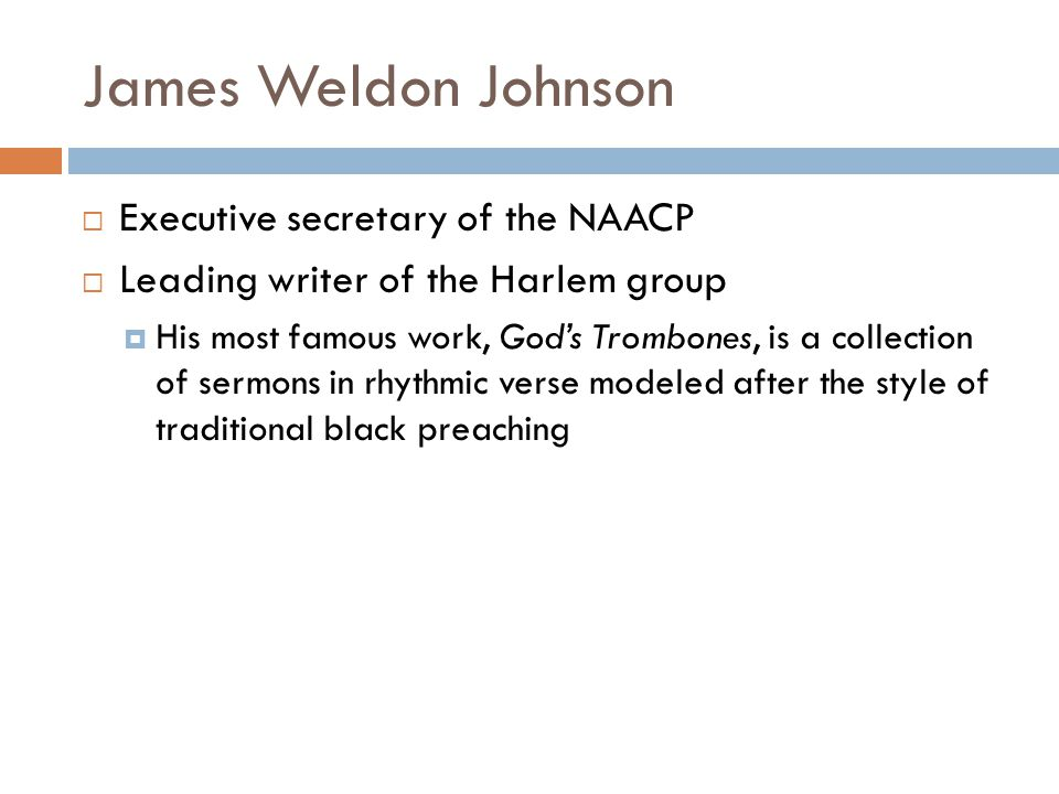 James Weldon Johnson Executive secretary of the NAACP