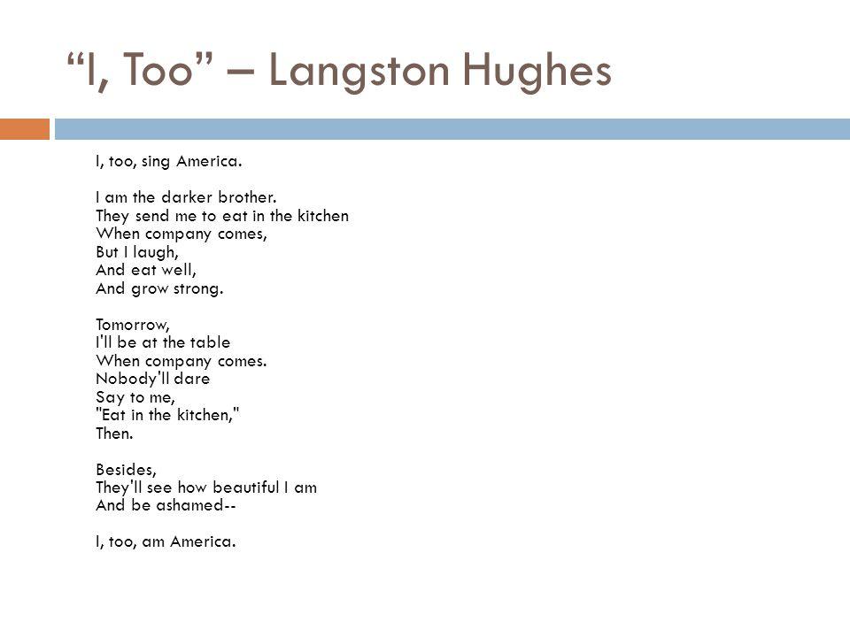I, Too – Langston Hughes