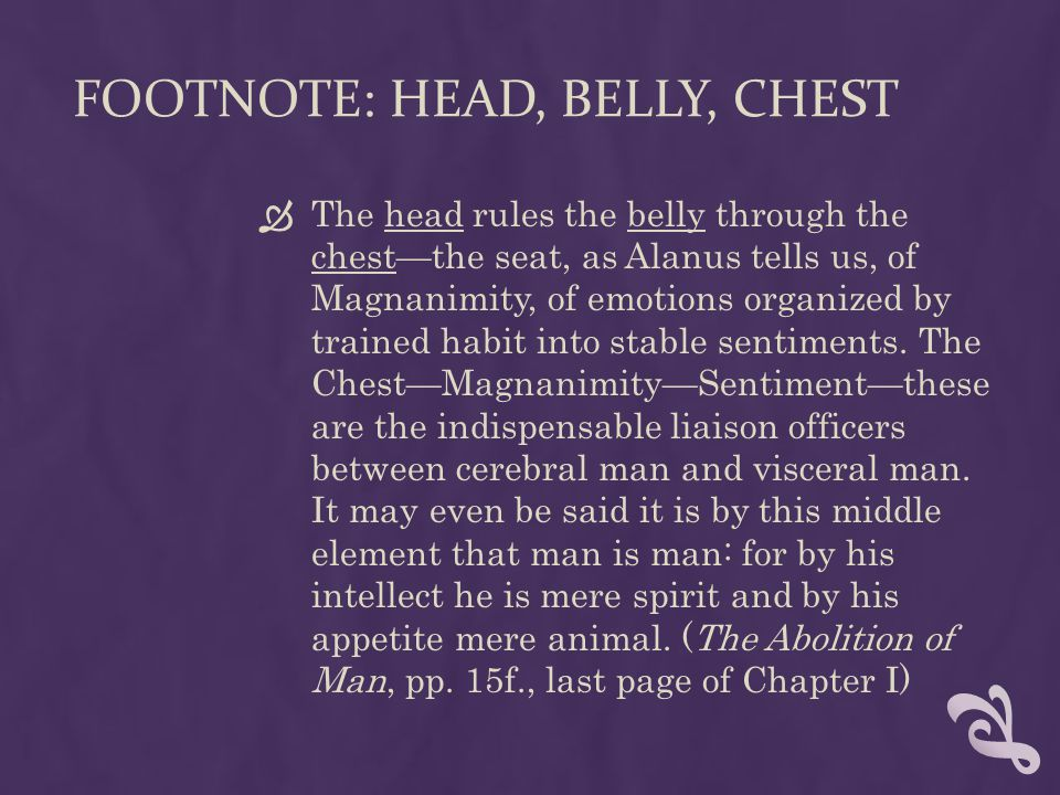 Footnote: Head, Belly, Chest