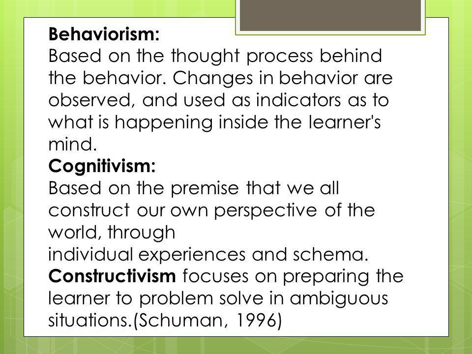 relationship between behaviorism and constructivism in education