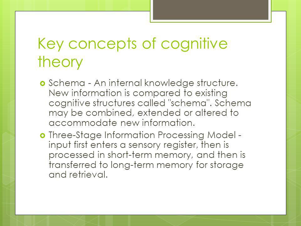 Key concepts of cognitive theory
