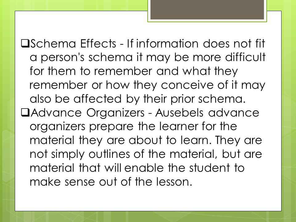 Schema Effects - If information does not fit a person s schema it may be more difficult for them to remember and what they remember or how they conceive of it may also be affected by their prior schema.