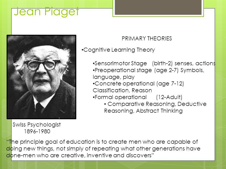 Jean Piaget PRIMARY THEORIES Cognitive Learning Theory
