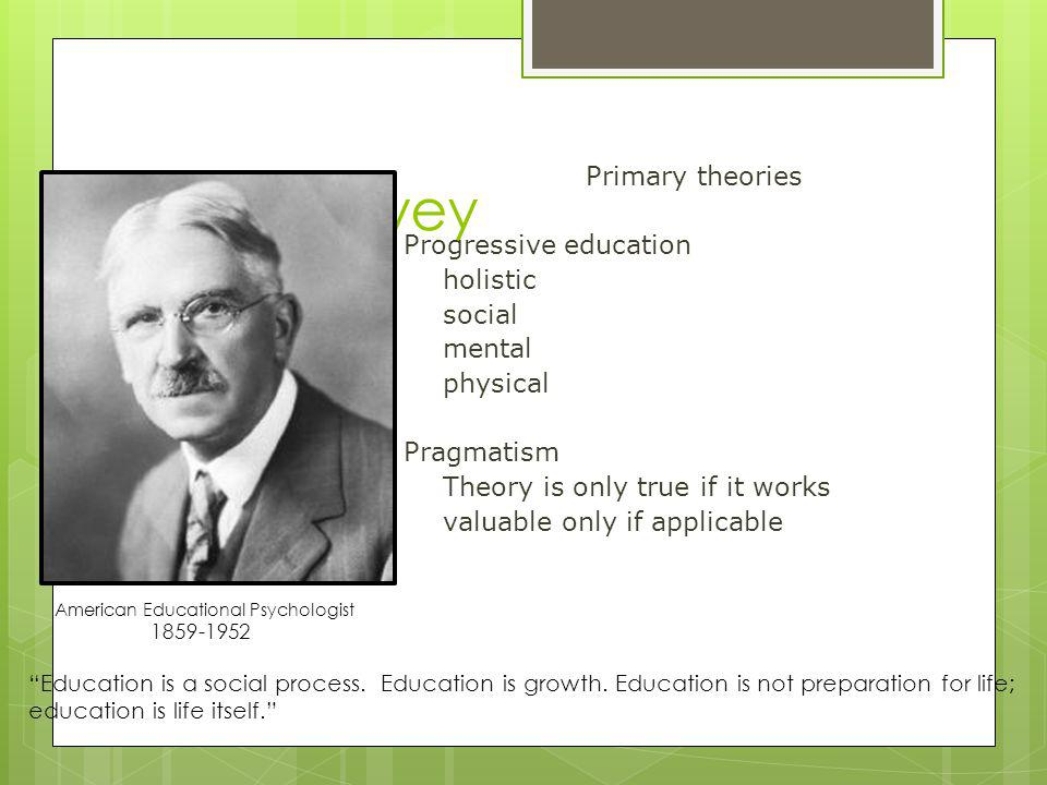 John Dewey Primary theories Progressive education holistic social