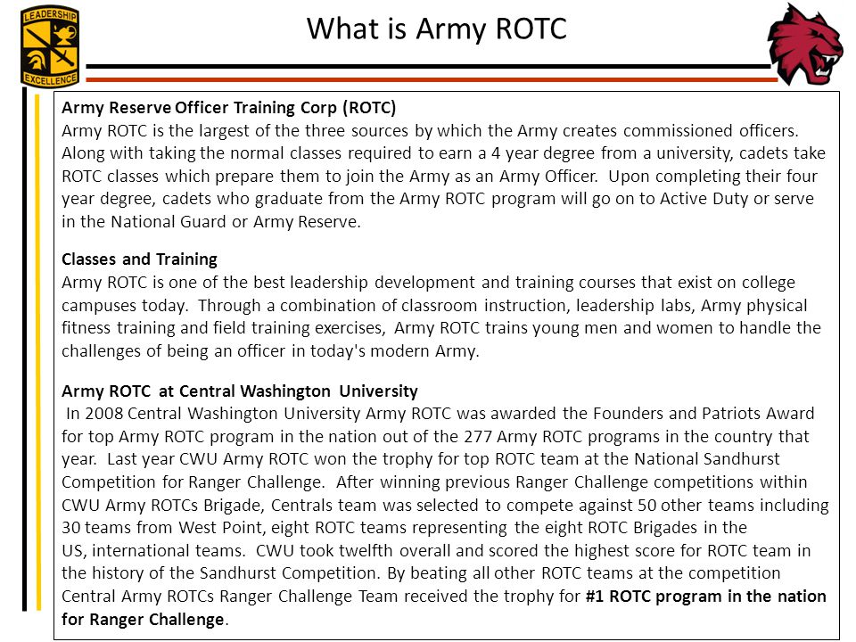 What Is Army Rotc Army Reserve Officer Training Corp Rotc Ppt