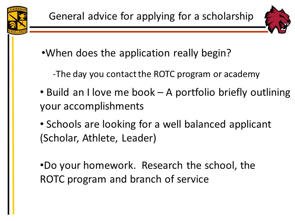 General advice for applying for a scholarship