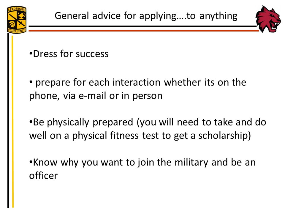 General advice for applying….to anything