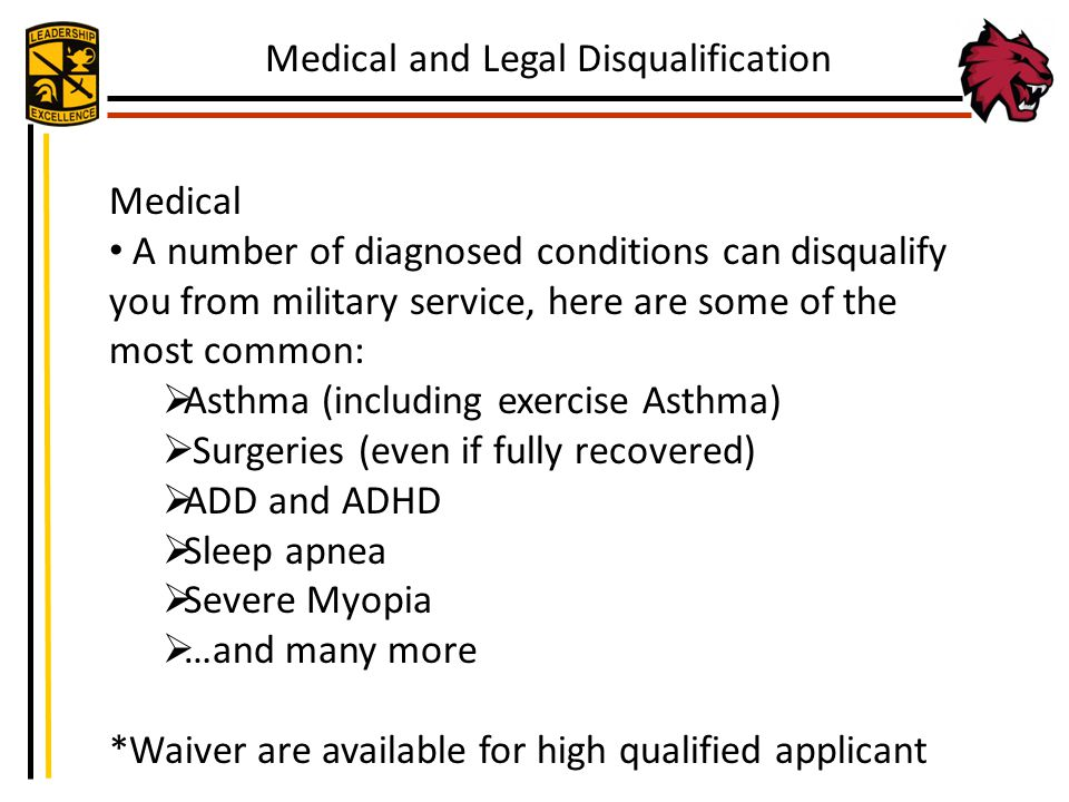 Medical and Legal Disqualification