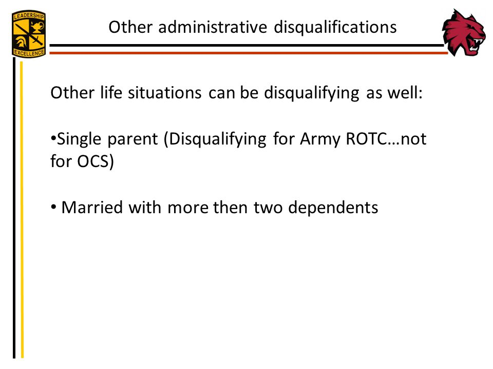 Other administrative disqualifications
