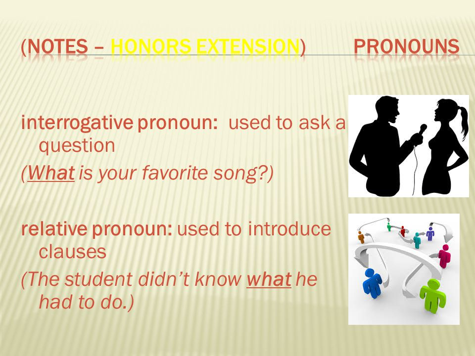 (Notes – Honors Extension) ProNouns