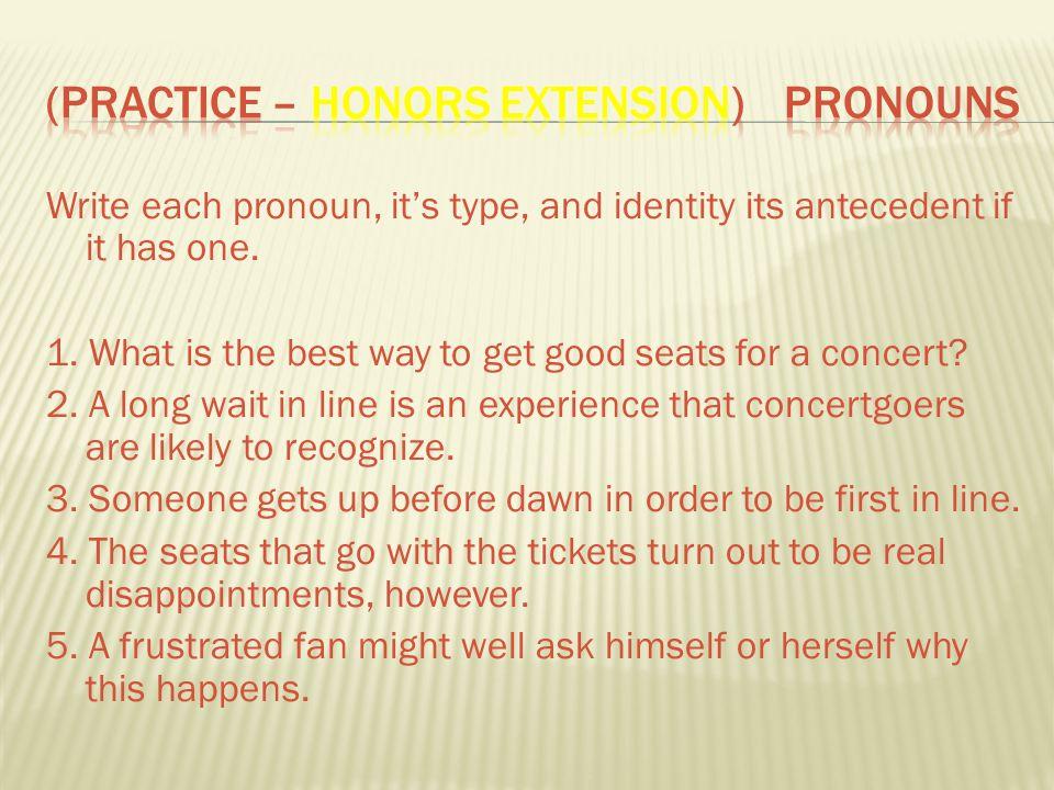 (Practice – Honors Extension) Pronouns