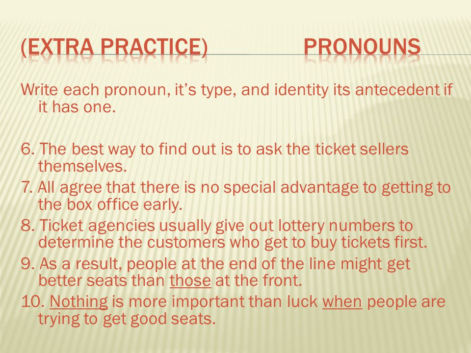 (Extra Practice) Pronouns