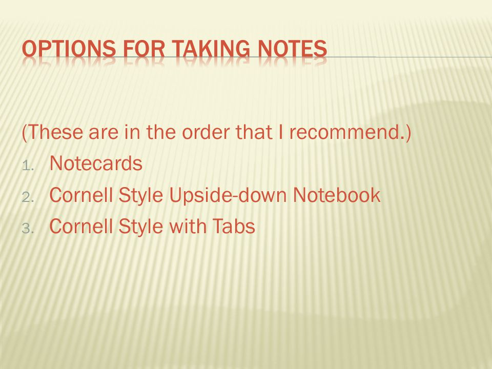 Options for Taking NOtes