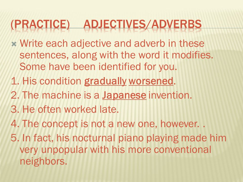 (Practice) Adjectives/Adverbs