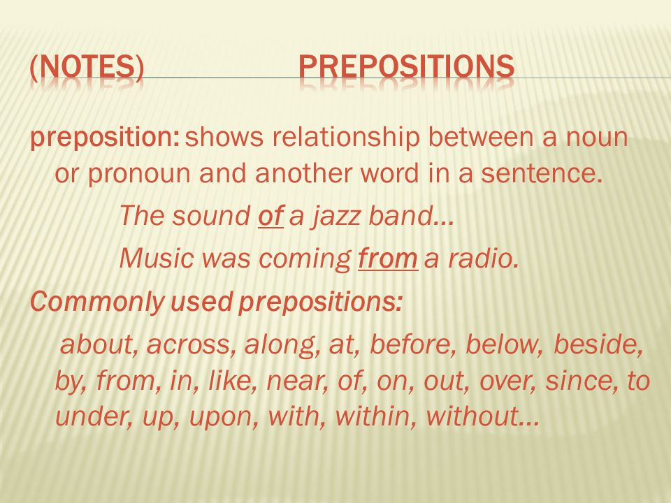 (Notes) Prepositions