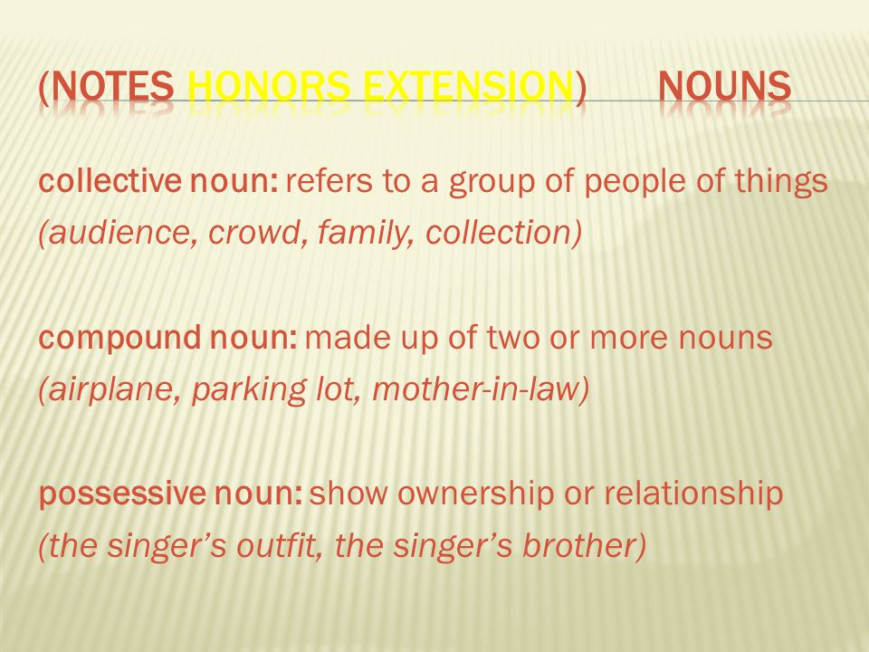 (Notes Honors Extension) Nouns