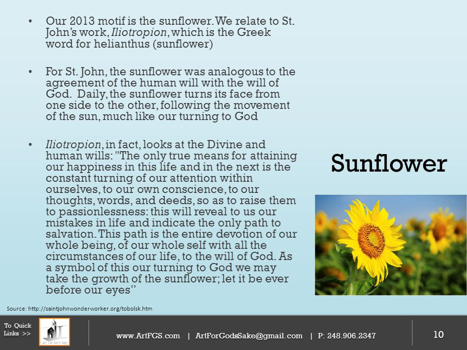 Our 2013 motif is the sunflower. We relate to St