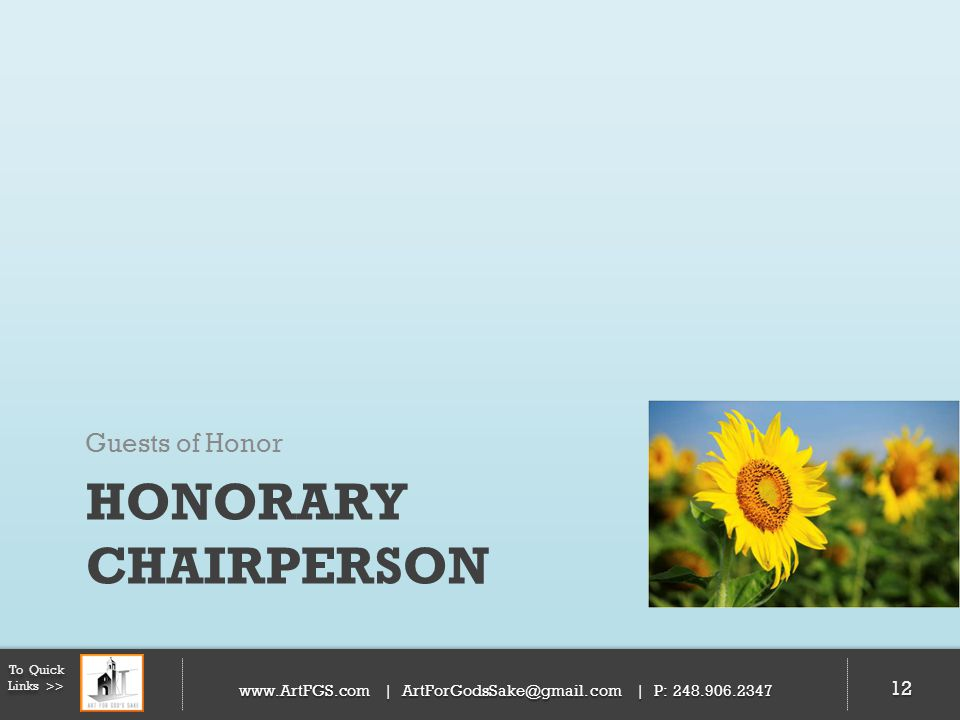 Honorary Chairperson Guests of Honor 12