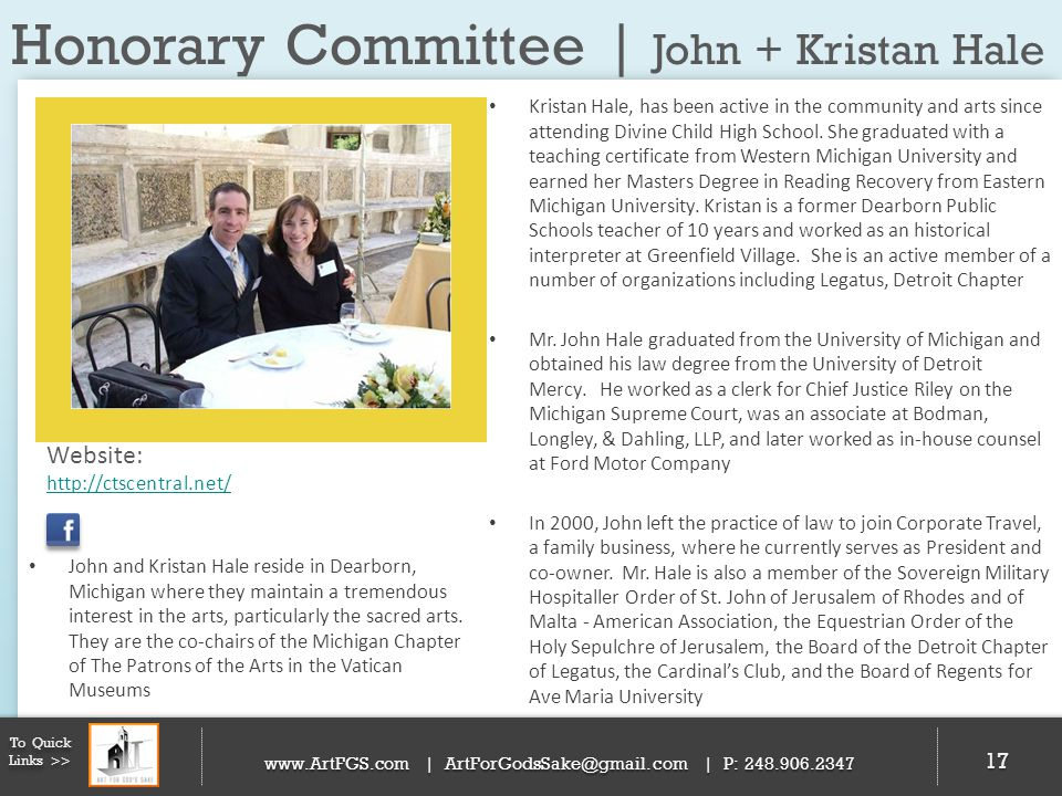 Honorary Committee | John + Kristan Hale