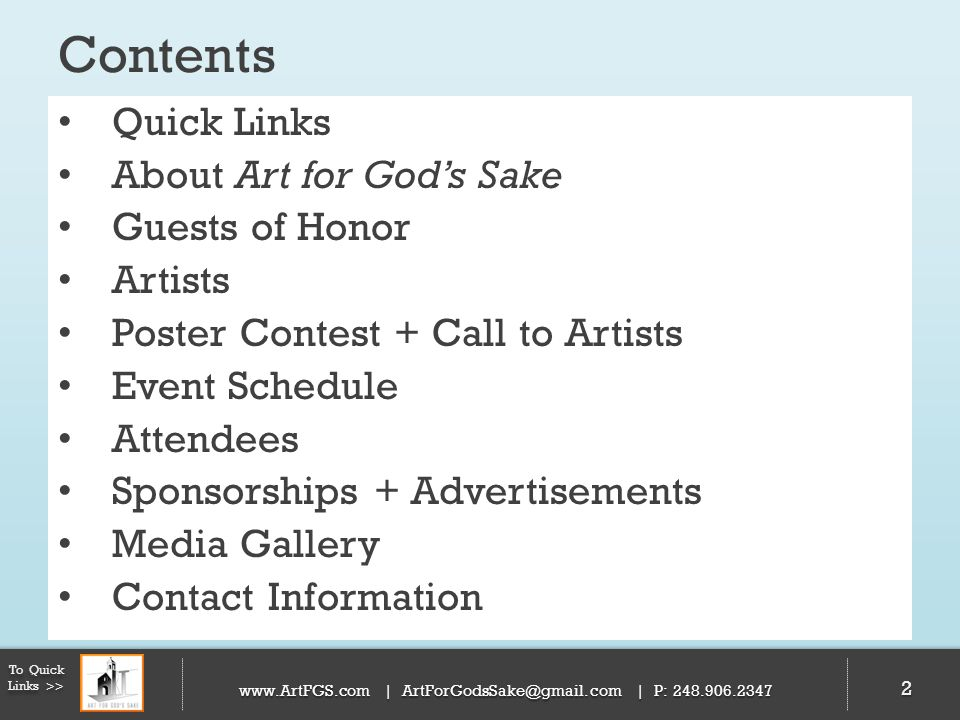 Contents Quick Links About Art for God's Sake Guests of Honor Artists