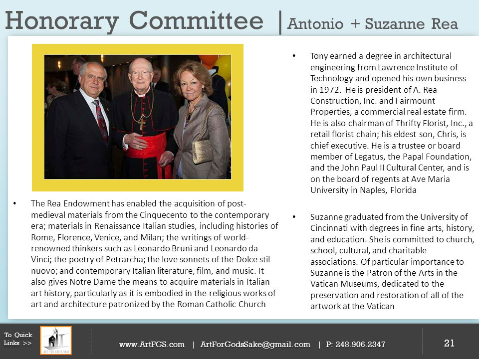 Honorary Committee |Antonio + Suzanne Rea