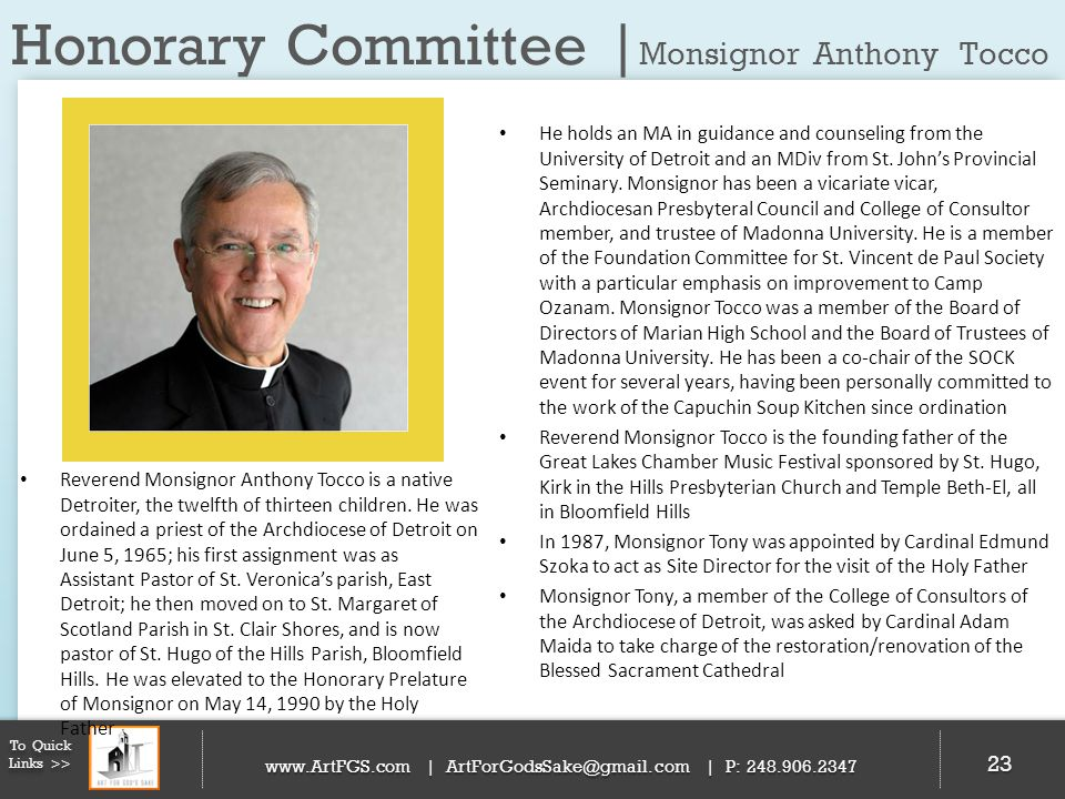 Honorary Committee |Monsignor Anthony Tocco