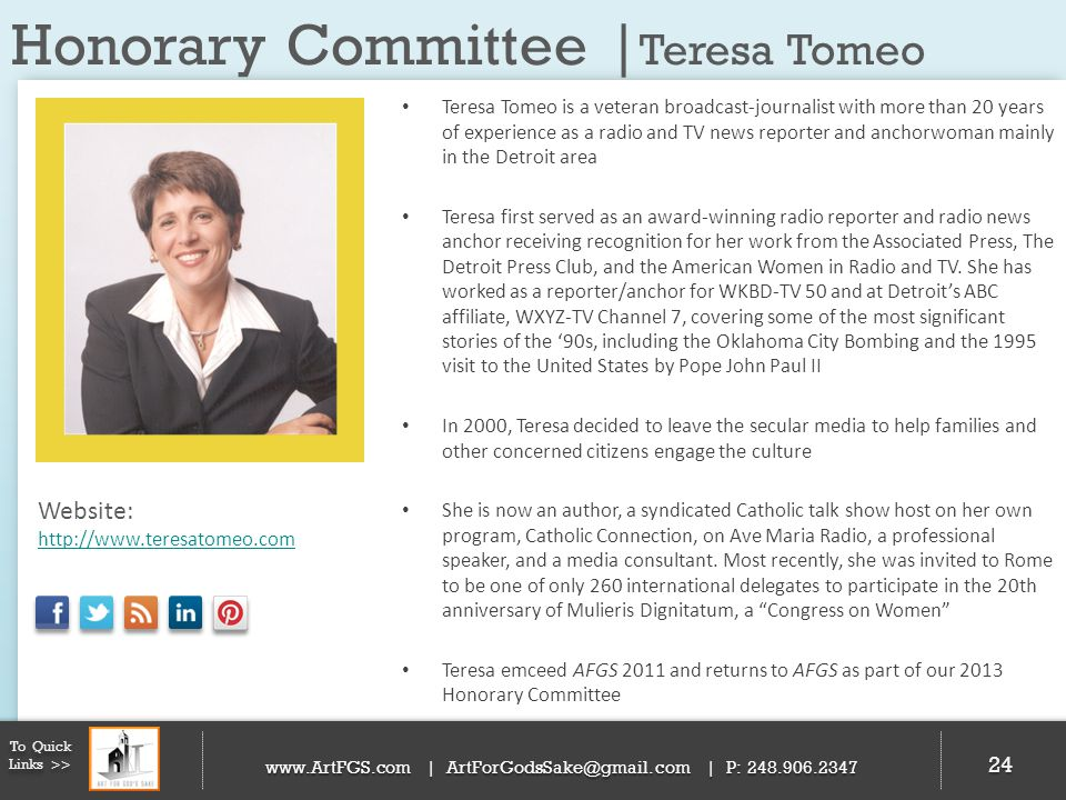 Honorary Committee |Teresa Tomeo
