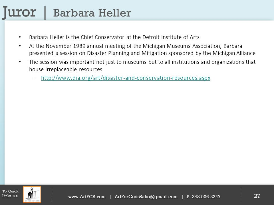 Juror | Barbara Heller Barbara Heller is the Chief Conservator at the Detroit Institute of Arts.