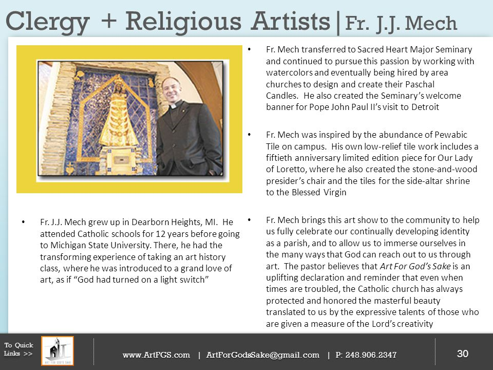 Clergy + Religious Artists|Fr. J.J. Mech